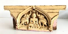 Antique Indian Old Wood Carving Jain Lord With Elephant Figurine Brackets Panel