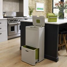 Brighten up any space with the JOSEPH JOSEPH Intelligent Waste Totem Recycling Bin