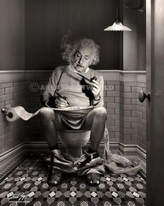 The daily duty (Albert Einstein), 2017 - by Cristina Guggeri Italian Vintage Photography, White Photography, Toilet Art, Cinema Tv, Einstein Quotes, Funny Art, Popular Culture, Albert Einstein, Historical Photos