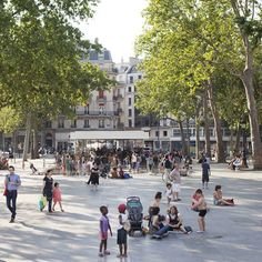 Place de la République, Paris by Atelier TVK.  Three types of concrete paving slabs have been used in the square, reflecting its overall layout.