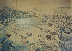representacion de la batalla de Placilla, marca el fin de la Guerra Civil de 1891, revista la Lira Chilena 1904 | por santiagonostalgico