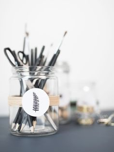 DIY organizer idea, Storage jars with dainty details by Søstrene Grene