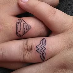 I'd do this with batman. This superbly dynamic duo. | 23 Geeky Couple Tattoos That Are Beyond Perfect