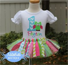 owl first birthday shirts and tutus | ... chevron, owl fabric tutu birthday outfit, boutique personalized shirt