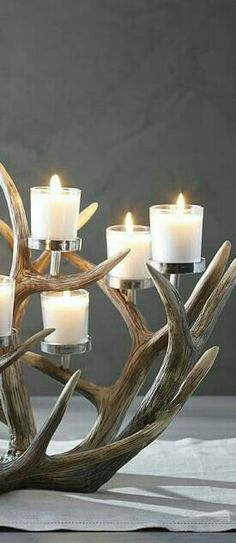 Many people believe that there is a magical formula for home decoration. You do things… Antler Chandelier, Rustic Chandelier, Antler Candle Holder, Candle Holders, Deer Decor, Rustic Decor, Rustic Style, Antler Centerpiece, Wildlife Home Decor