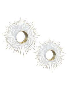 Kaison White & Gold Mirrors - Set of 2