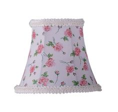 Livex Lighting S273 Chandelier Shade with White Floral Print Bell Clip Shade wit White Floral Print Bell Clip Shade with Fancy Trim Accessory Shades