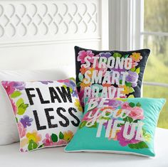 How amazing are these bright, floral throw pillows from YouTube star MayBaby's (a.k.a. Meg DeAngelis) collaboration with PBTeen? Click for more preview pictures!