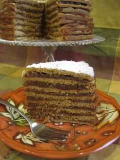 Old-Fashioned Stack Cake:  Ginger/Molasses Cake with Apple Butter Filling (This looks simular to  the stack cakes on both sides of my family)