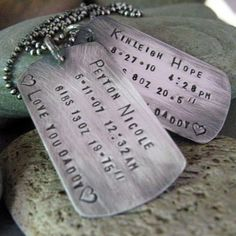 Daddy Dog Tags Necklace - personalized hand stamped jewelry