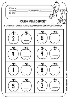 A Arte de Ensinar e Aprender: Atividade pronta - Números vizinhos Preschool Worksheets, Kindergarten Math, Teaching Math, Math Activities, Preschool Activities, Preschool Writing, Quotes For Students, Education Quotes, Educational Technology