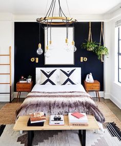 Black wall in a white room