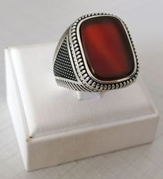 4dff321e732fd Handmade Turkish Natural Brown Agate Stone 925 Sterling Silver Men s Ring   925