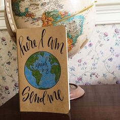 Missionary prayer journal, here I am send me Isaiah 6:8, personalized scripture gift, missions trip, travel journal by TheHipsterHousewife on Etsy https://www.etsy.com/listing/234815572/missionary-prayer-journal-here-i-am-send