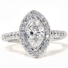 1.40CT Marquise Halo Diamond Ring 14K White Gold by Pompeii3 on Etsy https://www.etsy.com/listing/100997924/140ct-marquise-halo-diamond-ring-14k