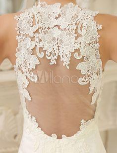 Vestido de noiva sereia marfim com detalhes em renda e transparência na cola e nas costas - Milanoo.com