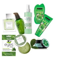 Green glory by sweetmoegee on Polyvore featuring polyvore, beauty, Vera Wang, Mario Badescu Skin Care, Innisfree, Fuji and GreenTeaBeauty