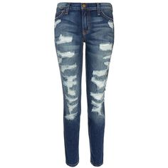 Current Elliott The Stiletto Low Rise Distressed Skinny Jean (500 BRL) ❤ liked on Polyvore featuring jeans, pants, bottoms, calças, blue, mid rise skinny jeans, distressed skinny jeans, blue ripped skinny jeans, super low rise skinny jeans and blue skinny jeans
