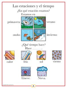 Introduce weather expressions with this colorful 18 x 24 in. poster that: - includes a free guide with teaching suggestions and practice worksheets - is sent flat (except international orders) View ou Spanish Help, Spanish Lessons For Kids, Preschool Spanish, Learn To Speak Spanish, Spanish Lesson Plans, Elementary Spanish, Spanish Activities, Spanish English, Spanish Games