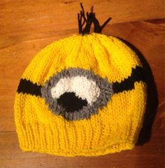 knitted minion hat pattern  http://lunchboxofawesome.blogspot.com/2013/07/me-minion-hat-knitting-pattern.html for Tyler