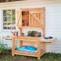 Gardeners will dig these DIY potting bench plans for increasing their outdoor garden storage. Do-it-yourselfers can build the potting bench only, or keep hammering and finish it with a garden storage cabinet.data-pin-do= Potting Bench With Sink, Pallet Potting Bench, Potting Tables, Furniture Top View, Fairy Furniture, Garden Storage Cabinet, Bench Storage, Pallet Storage, Diy Storage