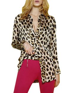 Brown Long Sleeves Leopard Print Oversized Poplin Blouse For Women - Milanoo.com