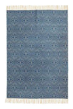 Bawełniany chodnik we wzory - Niebieski/Naturalna biel - HOME | H&M PL