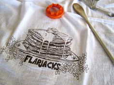 Tea Towel   Screen Printed Organic Cotton Flour Sack Towel   Soft And  Absorbent Kitchen Towel   Stack Of Pancakes   FlapJacks