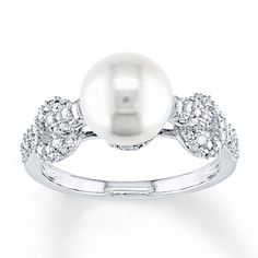 Cultured Pearl Ring 1/4 ct tw Diamonds 10K White Gold