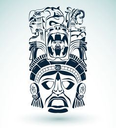 Illustration about Vector mask, mexican Mayan - aztec motifs - symbol easy edit. Illustration of figures, quetzalcoatl, 2012 - 31920752 Totem Tattoo, Tiki Tattoo, Maori Tattoo Arm, Inca Tattoo, Tatouage Delta, Jaguar Tattoo, Aztec Tattoo Designs, Aztec Art, 3d Laser