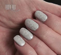 """Lola's Silver and Lace Mani:  Color Club """"Pretty in Platinum"""";  Stamped with OPI """"Alpine Snow""""; PUEEN27"""