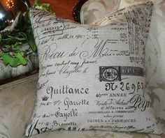 pillow slip cover French Script And Burlap by gatheredcomforts, $28.00
