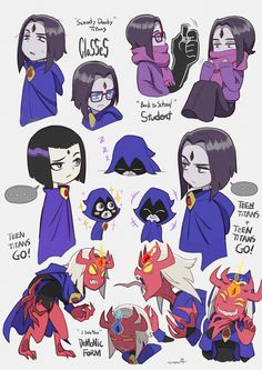 1girl cape character_sheet dc_comics english female forehead_jewel grey_skin kirusu leotard purple_hair raven_(dc) scarf short_hair simple_background solo teen_titans teen_titans_go! text upper_body