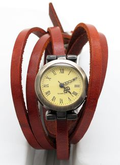 Brown Leather Wrapped Watch Retro Style Bracelet. $22.00, via Etsy.