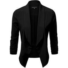 JJ Perfection Women's Lightweight Thin Chiffon Ruched Sleeve... (25 NZD) ❤ liked on Polyvore featuring outerwear, jackets, blazers, blazer jacket, chiffon jacket, lightweight jacket, chiffon blazer and ruched sleeve blazer