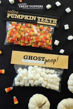 Free Printable Halloween Treat Bag Toppers perfect for adding to a BOO Package! treats for workplace Halloween Treat Bag Toppers - Inspiration Made Simple Halloween Gift Bags, Halloween Care Packages, Halloween School Treats, Healthy Halloween Treats, Holidays Halloween, Holiday Treats, Halloween Diy, Halloween Candy, Halloween Baskets