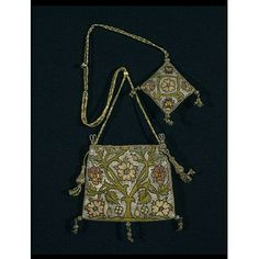 Purse. Britain, 1600-1625. Linen canvas with silk and silver thread embroidery. From the Victoria and Albert Museum: 316-1898