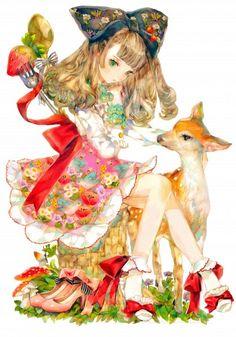 watercolor girl and deer Kawaii Anime Girl, Anime Art Girl, Anime Girls, Manga Anime, Manga Art, Anime Artwork, Cool Artwork, Chibi Girl, Anime Kunst