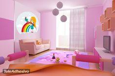 Vinilo infantil de chica y arco-iris #decoracion #teleadhesivo