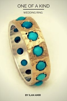 """Turquoise ring, """"something blue"""" gift, December birthstone, hammered gold and silver band with inlaid gemstones, gift for her, Ilan Amir"""