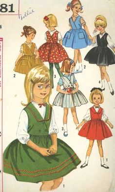 Vintage Girls Summer Dress Sewing Pattern Late Night Coffee Art and Craft Supplies Moda Vintage, Vintage Girls, Vintage Children, Doll Clothes Patterns, Clothing Patterns, Dress Patterns, Vintage Paper Dolls, Old Dolls, One Piece Dress