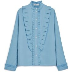 Mulberry Nancy Shirt ($345) ❤ liked on Polyvore featuring tops, blouses, light blue, high collar blouse, ruffled shirt, victorian ruffle blouse, victorian shirt and light blue shirt