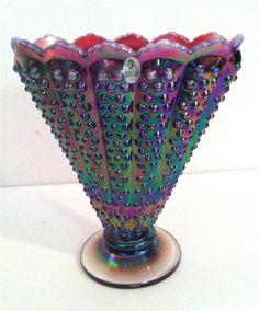 Fenton Purple Carnival Hobnail Iridescent Glass Art Vase Stunning Very RARE