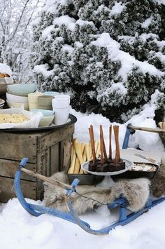 Winter decor and food ideas for having a delicious picnic in the snow! Picnic Time, Summer Picnic, Schnee Party, Winter Parties, I Love Winter, Winter Magic, Winter Beauty, Winter Scenes, Winter Christmas