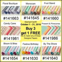 It's a great time to stock up on your favorite Stampin' Up! papers!  Buy 3, Get 1 FREE  . . . Oct. 1-31 . . . shop at www.georgia.stampinup.net