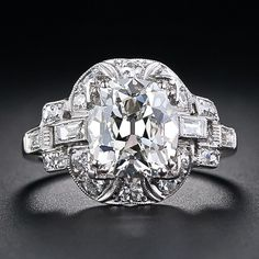 Carat Cushion-Cut Art Deco Diamond Engagement Ring, ca. - I can only dream. Cushion Cut Engagement Ring, Deco Engagement Ring, Vintage Engagement Rings, Diamond Engagement Rings, Art Deco Diamond Rings, Diamond Art, Art Deco Ring, Diamond Brooch, Bijoux Art Deco