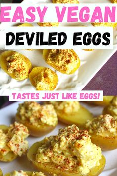 Easy vegan deviled eggs (that actually taste like eggs) - Vegan Appetizers Vegetarian Appetizers, Vegan Snacks, Yummy Appetizers, Appetizer Recipes, Party Appetizers, Devilled Eggs Recipe Best, Deviled Eggs Recipe, Egg Recipes, Whole Food Recipes