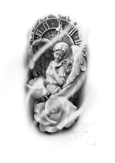 Religious Tattoo Sleeves, Lion Tattoo Sleeves, Sleeve Tattoos, Statue Tattoo, Beautiful Angel Tattoos, Tatuagem Old Scholl, Archangel Tattoo, Mangas Tattoo, Heaven Tattoos