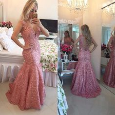 >> Click to Buy << Exquisite Pink Lace Evening Dress Sexy Beaded Mermaid Formal Dress For Party Sheer Women Sweetheart Evening Dinner Gowns PE40 #Affiliate