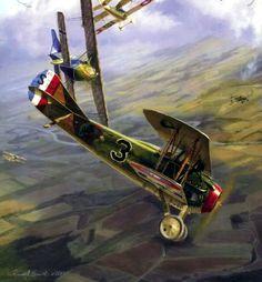 Los momentos finales del Spad pilotado por Ivan Roberts del 27° Aero Sqn, cayendo ante las balas del Tte. Büchner del Jasta 13. Pintura de Russell Smith. BFD